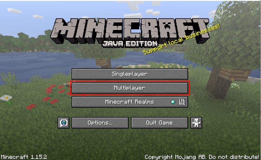 Bli med MC Server - Multiplayer knapp